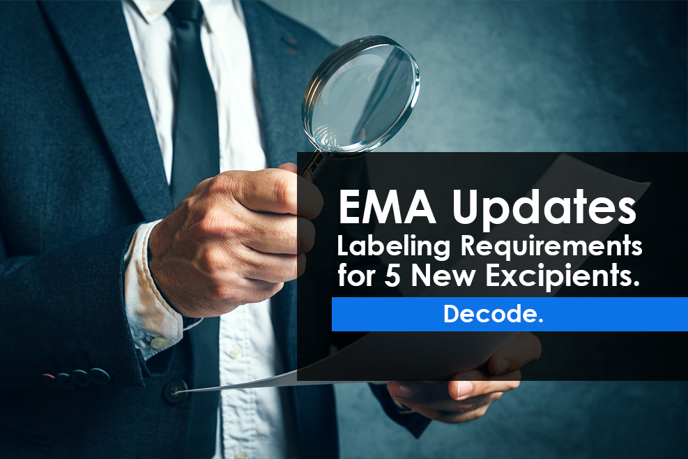 EMA Updates Labeling Requirements for 5 New Excipients